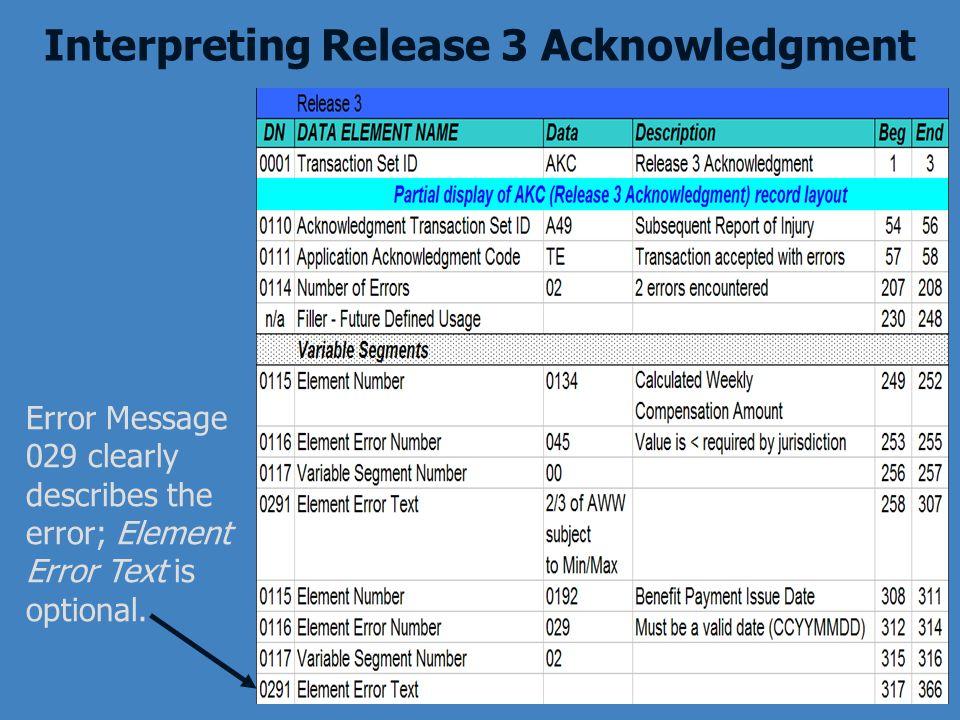 Interpreting Release 3 Acknowledgment Error Message 029 clearly describes the error; Element Error Text is optional.