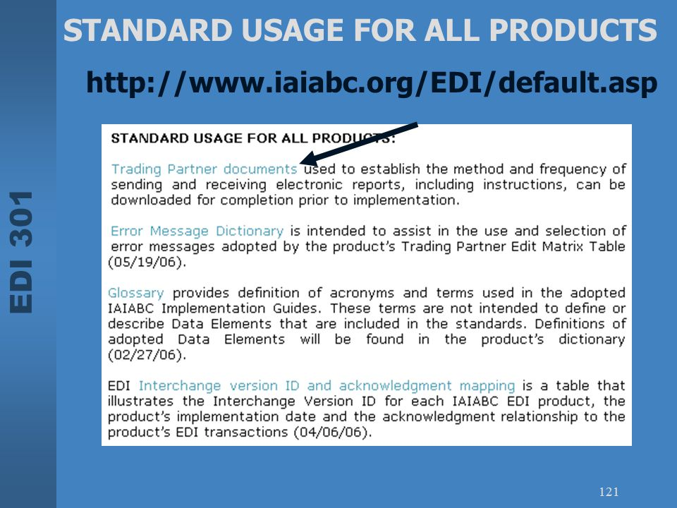 EDI 301 121 STANDARD USAGE FOR ALL PRODUCTS http://www.iaiabc.org/EDI/default.asp