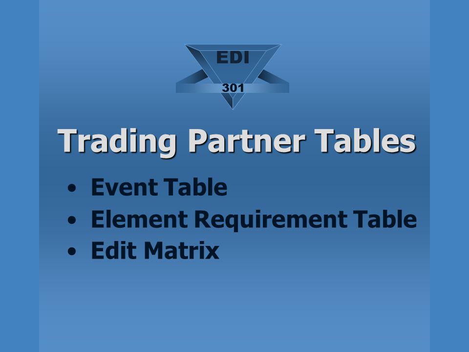 Trading Partner Tables Event Table Element Requirement Table Edit Matrix EDI 301