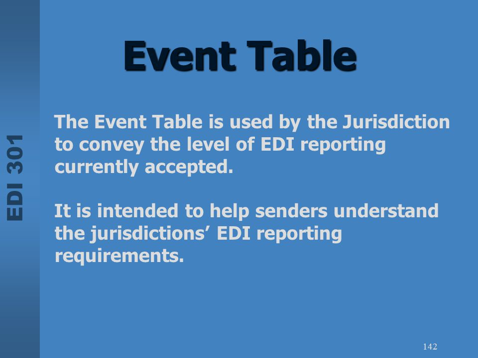 EDI 301 142 Event Table The Event Table is used by the Jurisdiction to convey the level of EDI reporting currently accepted. It is intended to help se