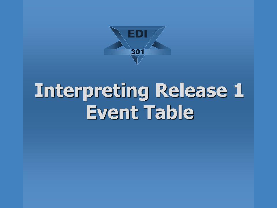 Interpreting Release 1 Event Table EDI 301