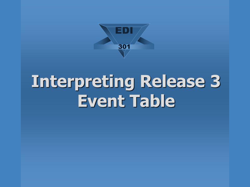 Interpreting Release 3 Event Table EDI 301