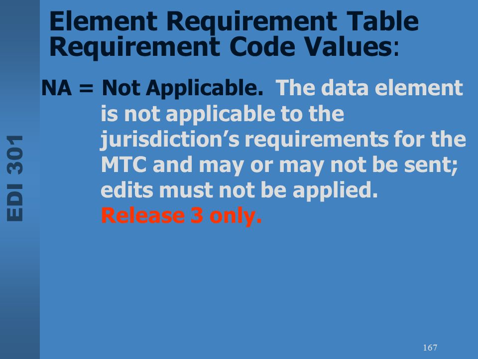 EDI 301 167 NA = Not Applicable. The data element is not applicable to the jurisdiction's requirements for the MTC and may or may not be sent; edits m