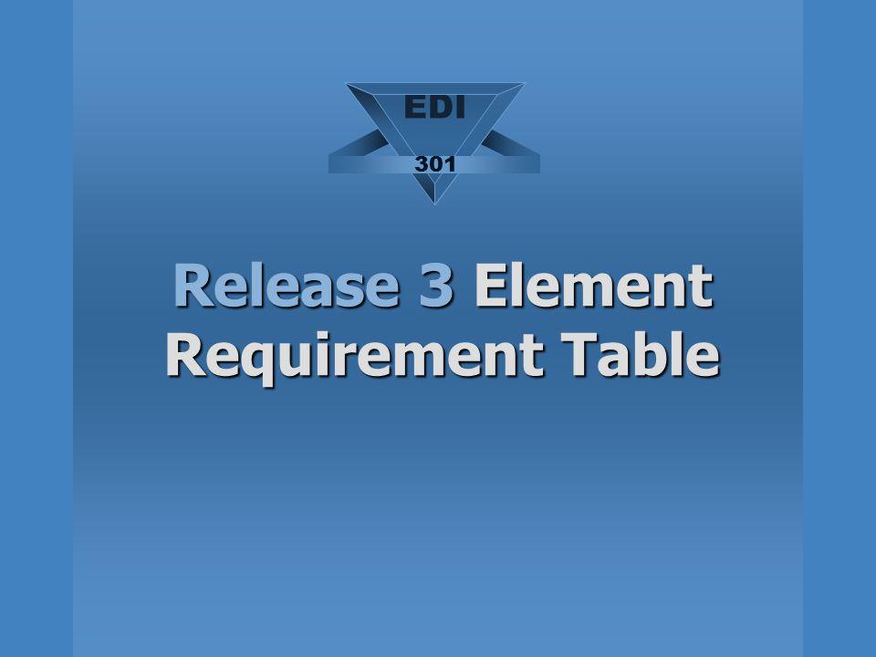 Release 3 Element Requirement Table EDI 301