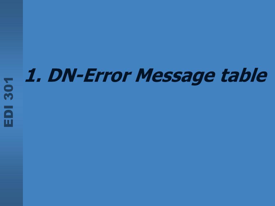 EDI 301 1. DN-Error Message table