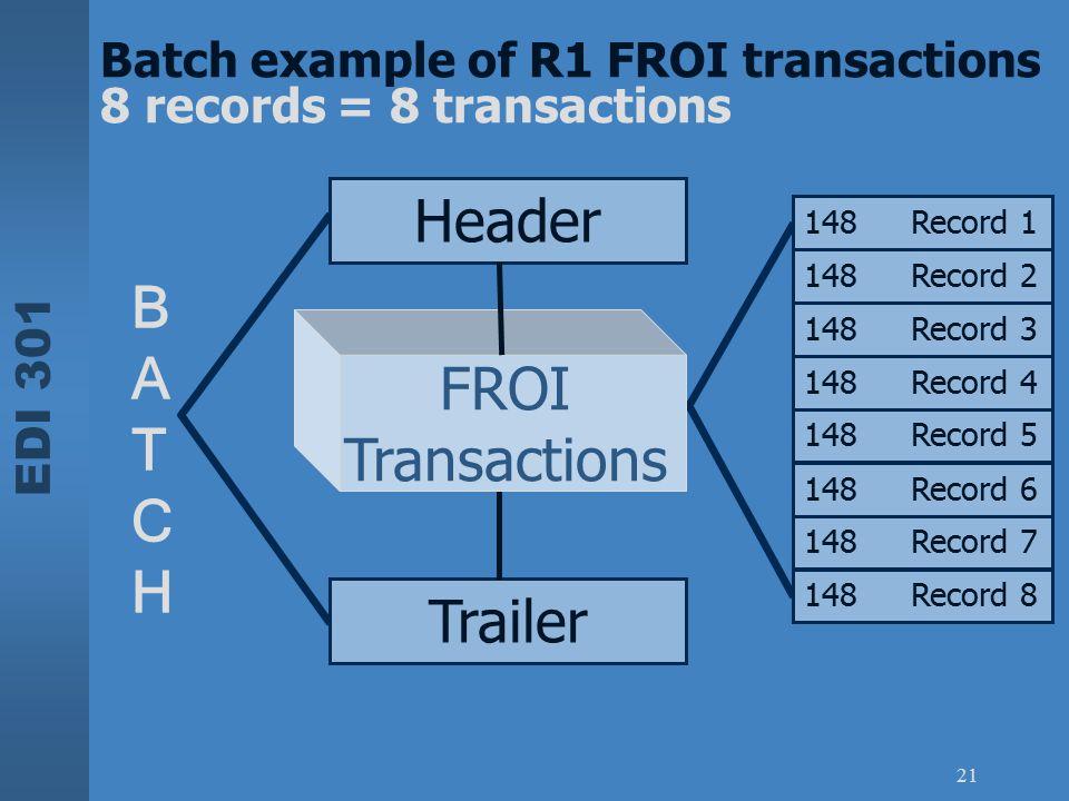 EDI 301 21 BATCHBATCH Batch example of R1 FROI transactions 8 records = 8 transactions 148Record 1 148Record 2 148Record 3 148Record 4 148Record 5 148