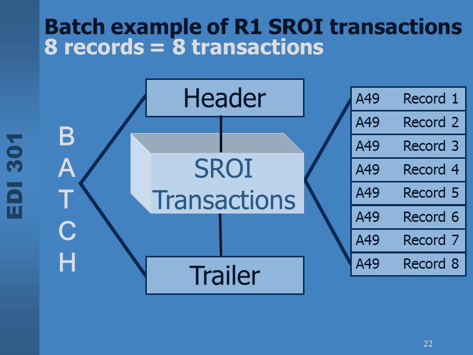 EDI 301 22 SROI Transactions BATCHBATCH Batch example of R1 SROI transactions 8 records = 8 transactions A49Record 1 A49Record 2 A49Record 3 A49Record
