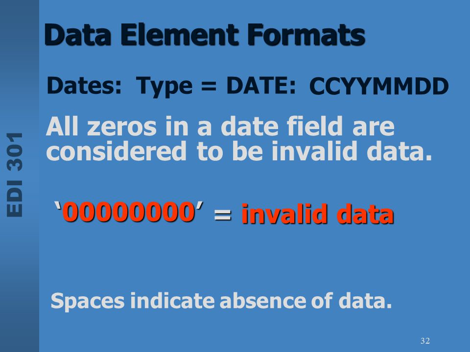 EDI 301 32 Data Element Formats All zeros in a date field are considered to be invalid data. CCYYMMDD Dates: Type = DATE: Spaces indicate absence of d
