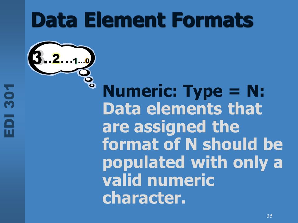 EDI 301 35 Data Element Formats Numeric: Type = N: Data elements that are assigned the format of N should be populated with only a valid numeric chara