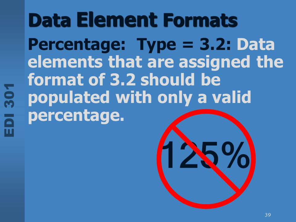 EDI 301 39 Data Element Formats Percentage: Type = 3.2: Data elements that are assigned the format of 3.2 should be populated with only a valid percen
