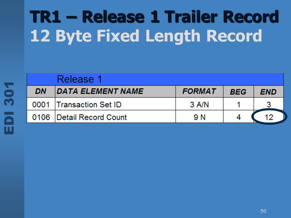 EDI 301 50 TR1 – Release 1 Trailer Record TR1 – Release 1 Trailer Record 12 Byte Fixed Length Record