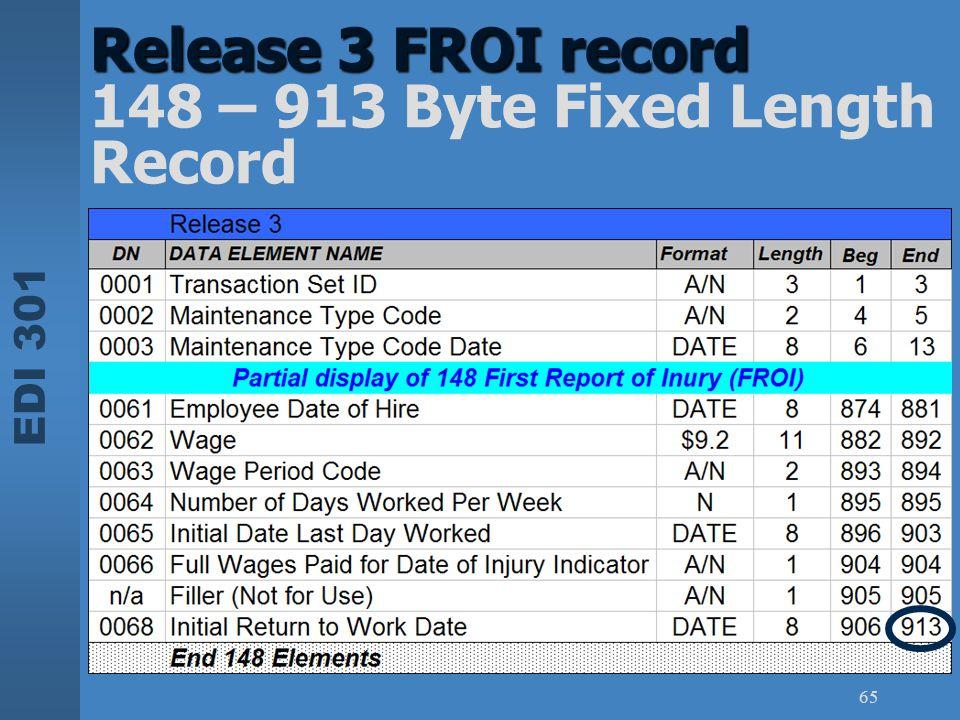 EDI 301 65 Release 3 FROI record Release 3 FROI record 148 – 913 Byte Fixed Length Record