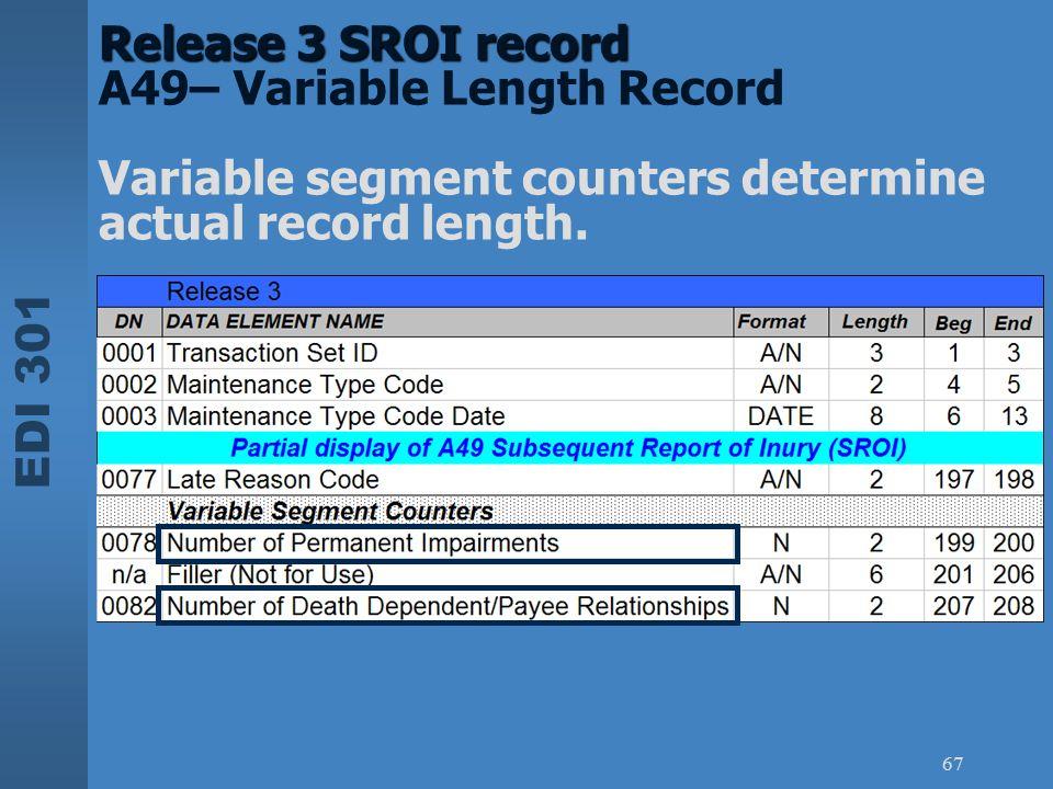 EDI 301 67 Release 3 SROI record Release 3 SROI record A49– Variable Length Record Variable segment counters determine actual record length.