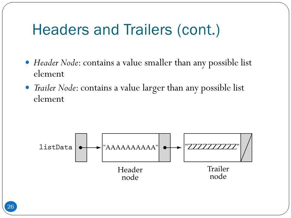Headers and Trailers (cont.) Header Node: contains a value smaller than any possible list element Trailer Node: contains a value larger than any possi