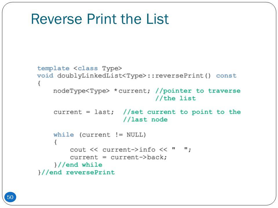 Reverse Print the List 50