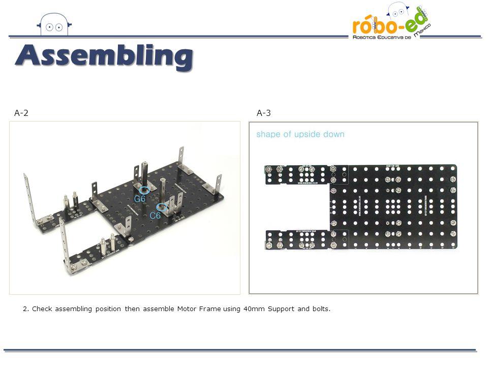 G-1 13. Fix Servo Motor using 40mm Supports then assemble CPU Board. Assembling