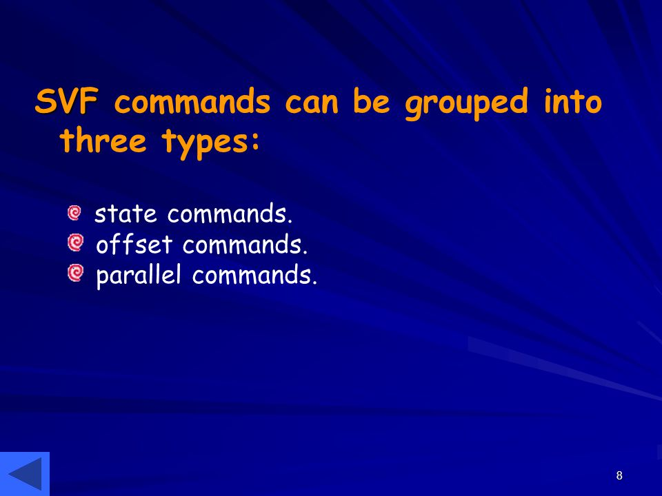 8 SVF SVF commands can be grouped into three types: state commands. offset commands. parallel commands.