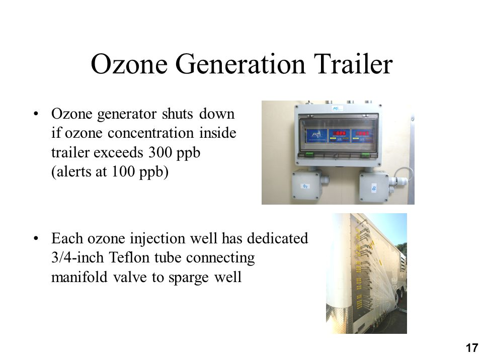 17 Ozone Generation Trailer Ozone generator shuts down if ozone concentration inside trailer exceeds 300 ppb (alerts at 100 ppb) Each ozone injection well has dedicated 3/4-inch Teflon tube connecting manifold valve to sparge well