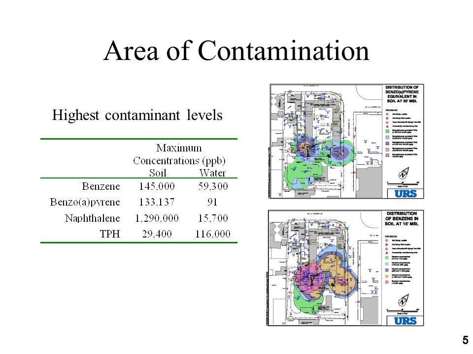 5 Area of Contamination Highest contaminant levels