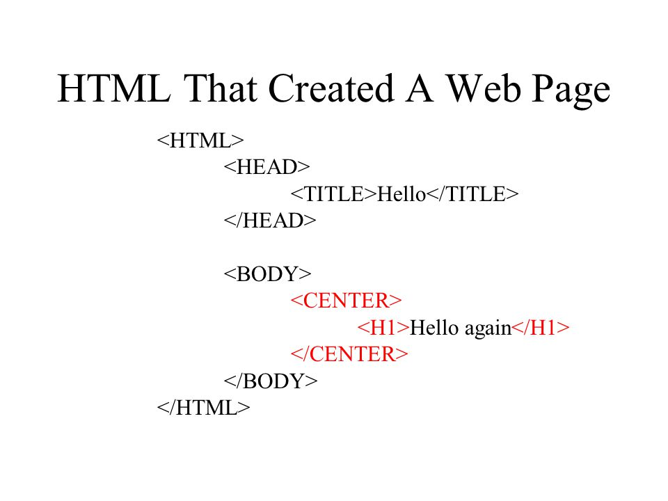 HTML That Created A Web Page Hello Hello again
