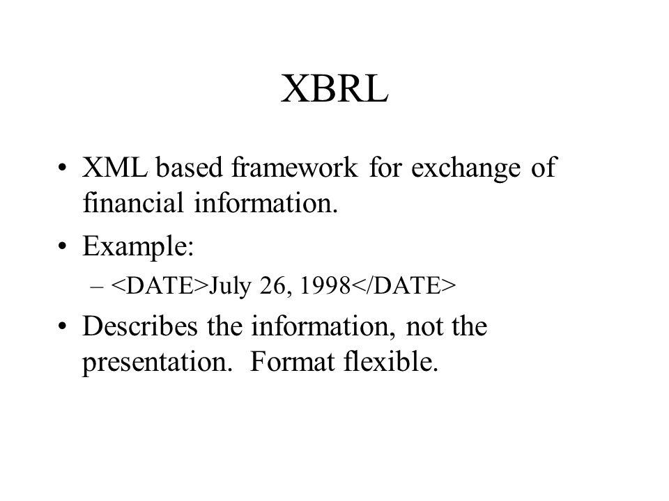 XBRL XML based framework for exchange of financial information.