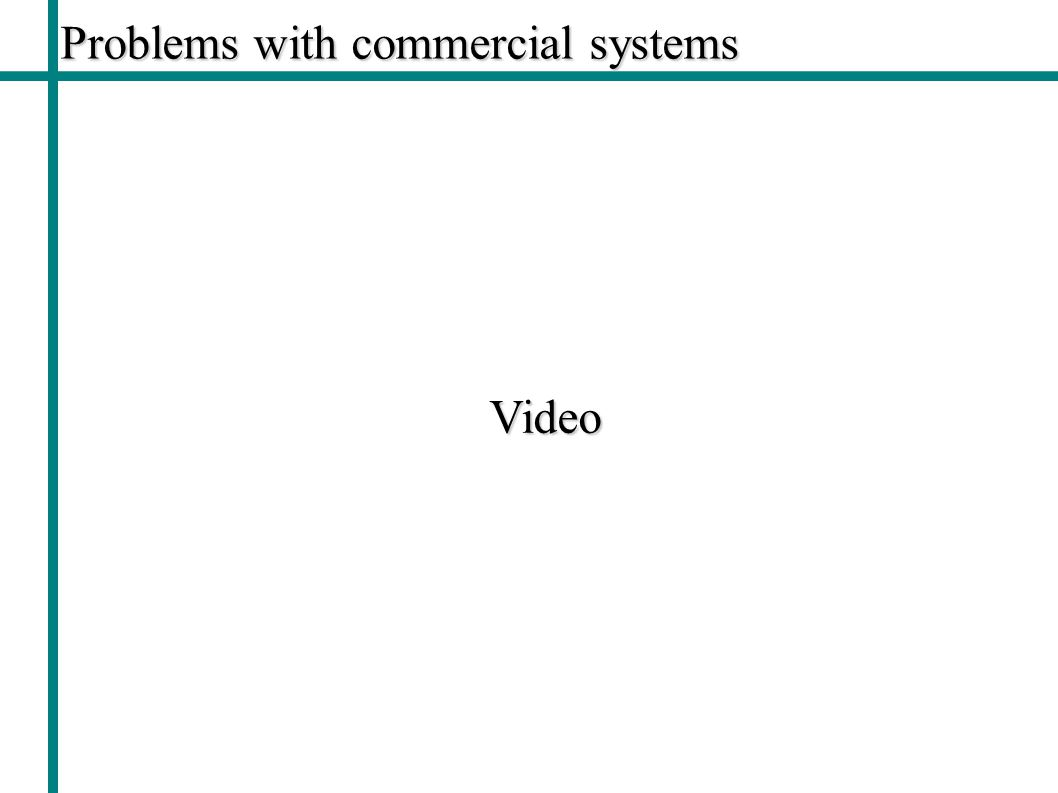 Problems with commercial systems Video