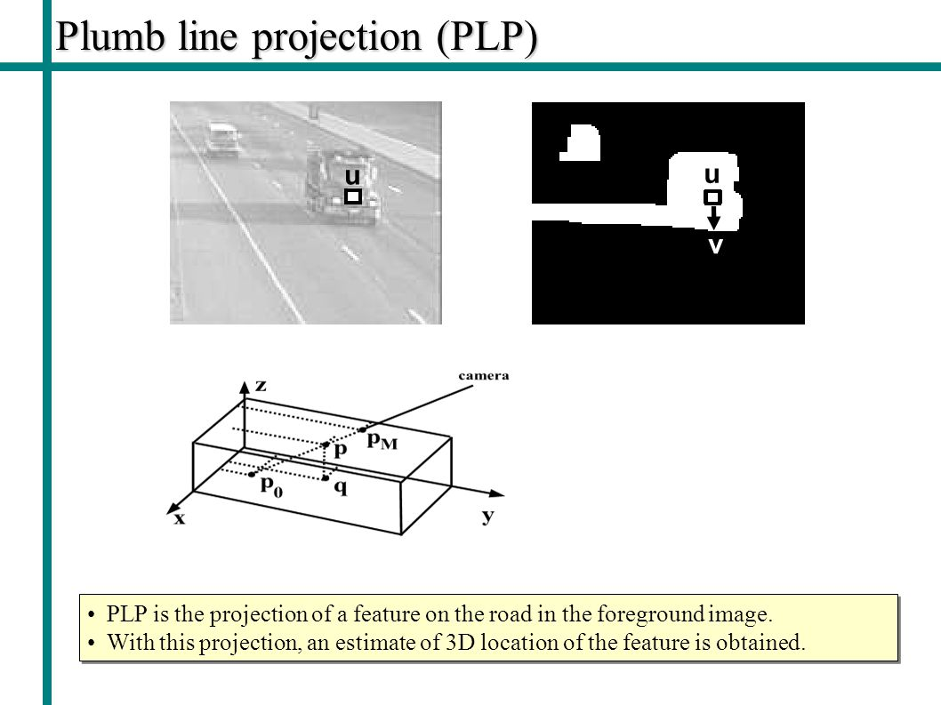 Plumb line projection (PLP) PLP is the projection of a feature on the road in the foreground image.