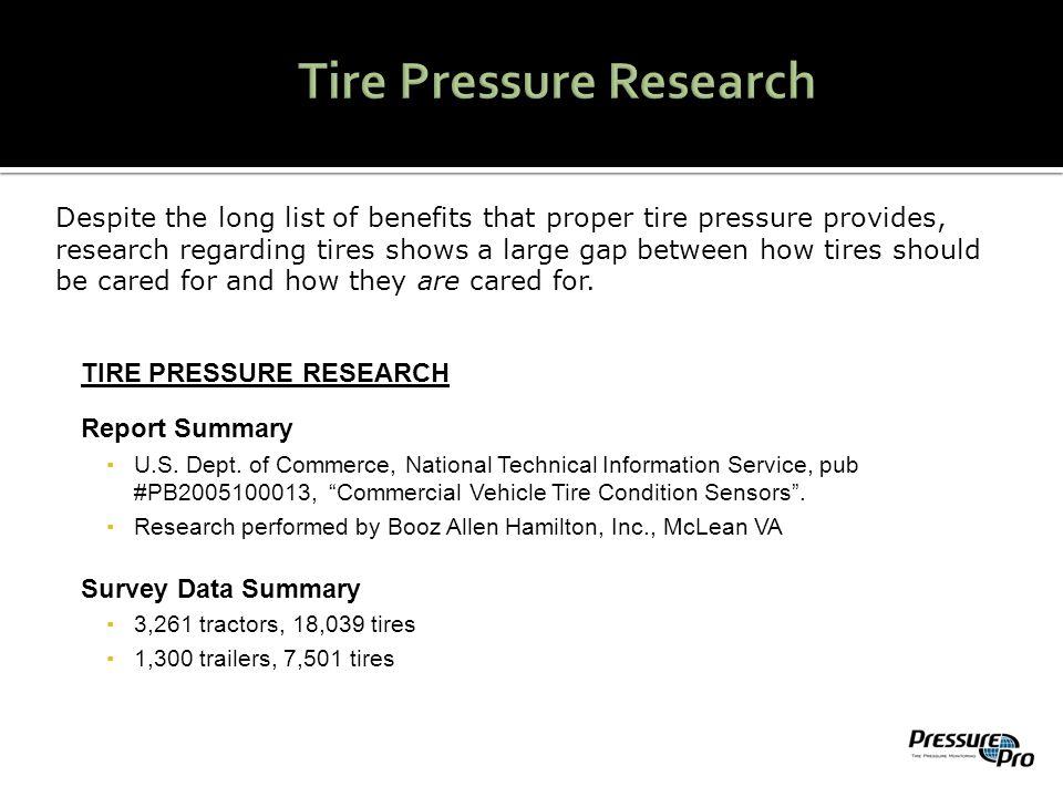 TIRE PRESSURE RESEARCH Report Summary ▪U.S. Dept.