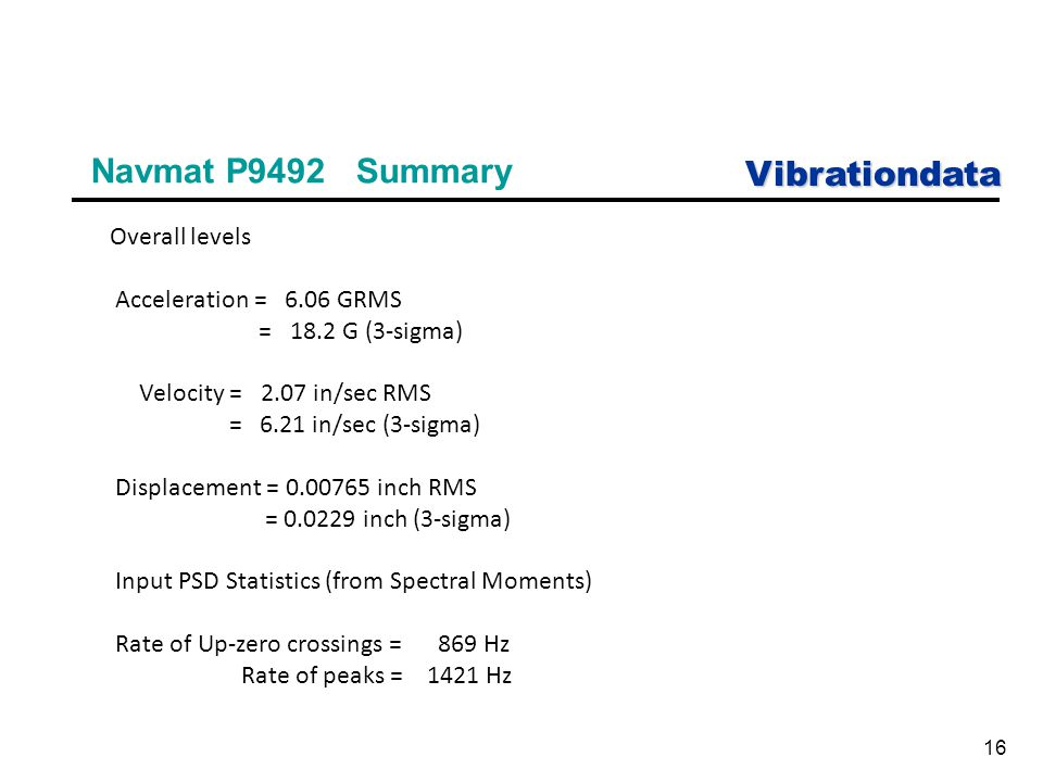 Vibrationdata 16 Navmat P9492 Summary Overall levels Acceleration = 6.06 GRMS = 18.2 G (3-sigma) Velocity = 2.07 in/sec RMS = 6.21 in/sec (3-sigma) Displacement = 0.00765 inch RMS = 0.0229 inch (3-sigma) Input PSD Statistics (from Spectral Moments) Rate of Up-zero crossings = 869 Hz Rate of peaks = 1421 Hz