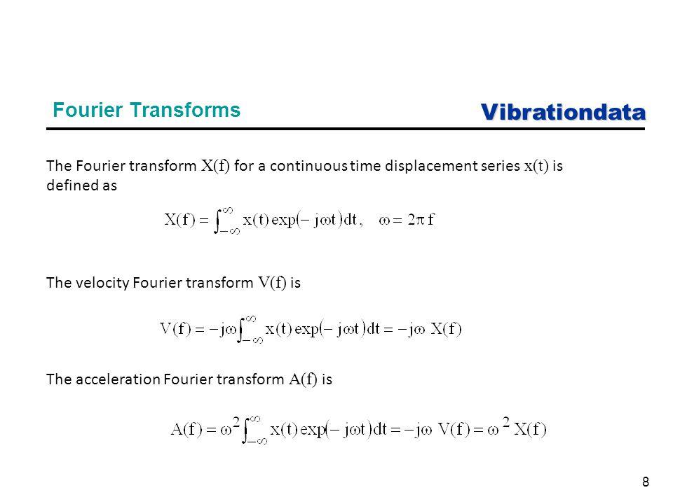 Vibrationdata 9 Fourier Transform Integration & Differentiation Fourier Transforms Referenced to Displacement Fourier Transform ParameterValue displacementX velocity -j  X acceleration  2 X Fourier Transforms Referenced to Acceleration Fourier Transform ParameterValue accelerationA velocity A/(-j  ) displacement A/  2 j = sqrt(-1) ω = angular frequency (rad/sec)