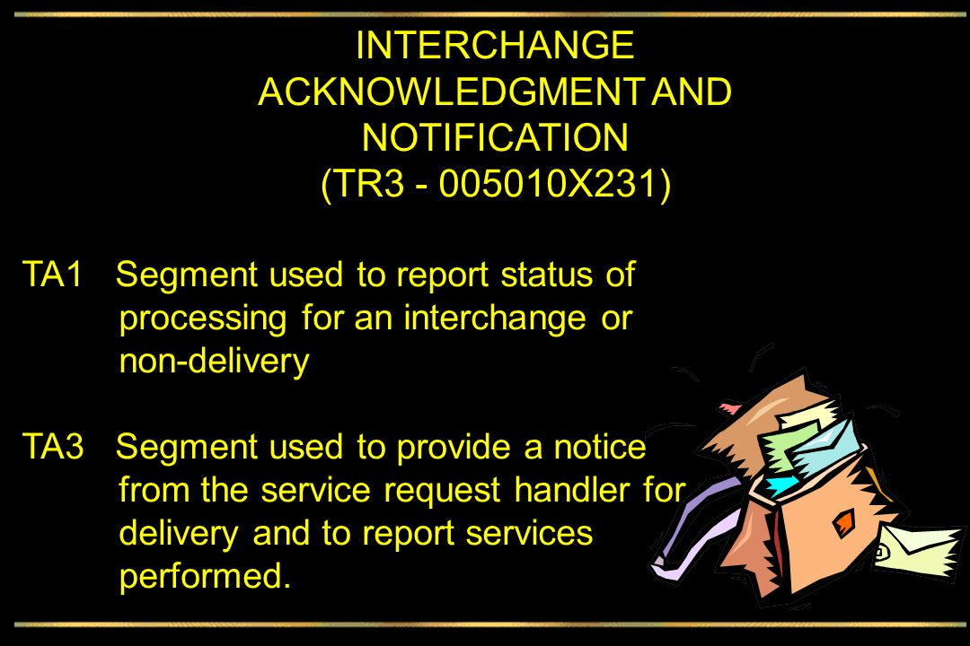 INTERCHANGE ACKNOWLEDGMENT Interchange control number Date and time Accept or reject or Accept w/Errors Note (not error) code Sent within interchange envelope
