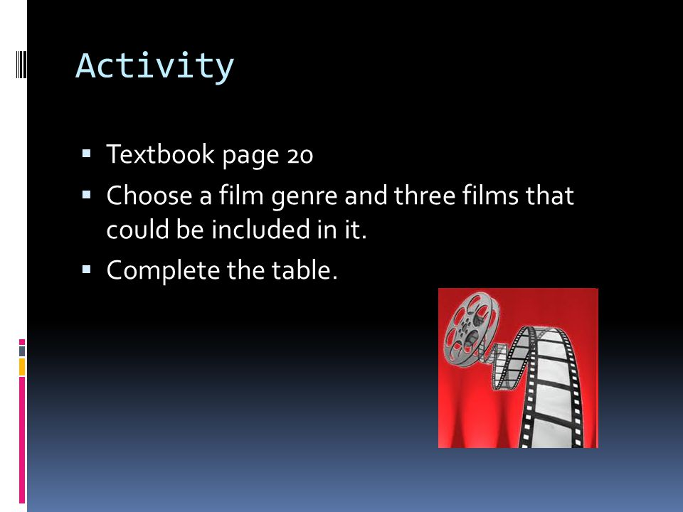 Activity  Textbook page 20  Choose a film genre and three films that could be included in it.