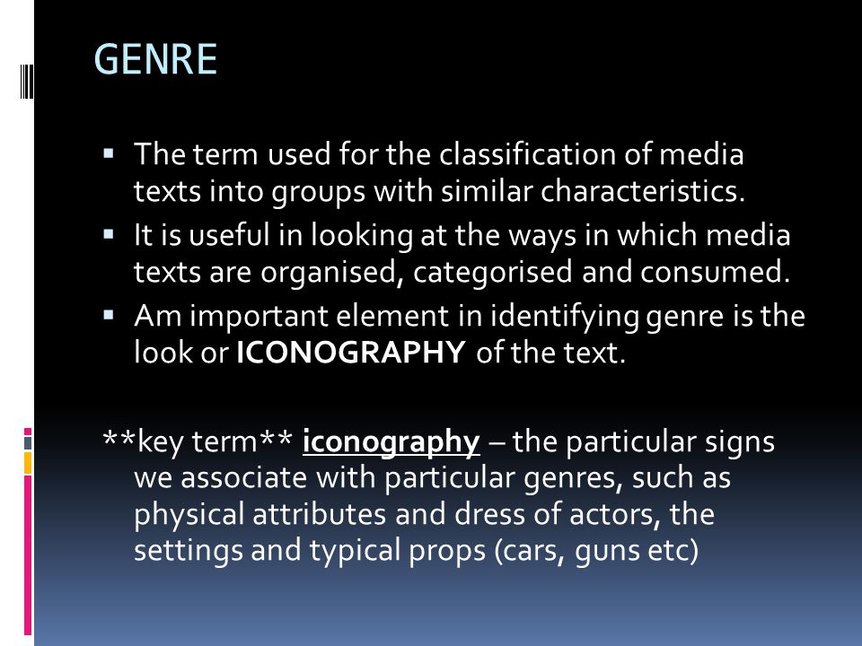 GENRE  Complete the following table...