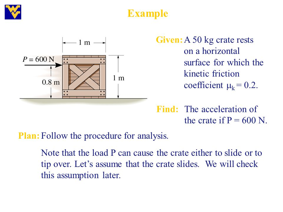 Example Given:A 50 kg crate rests on a horizontal surface for which the kinetic friction coefficient  k = 0.2. Find:The acceleration of the crate if