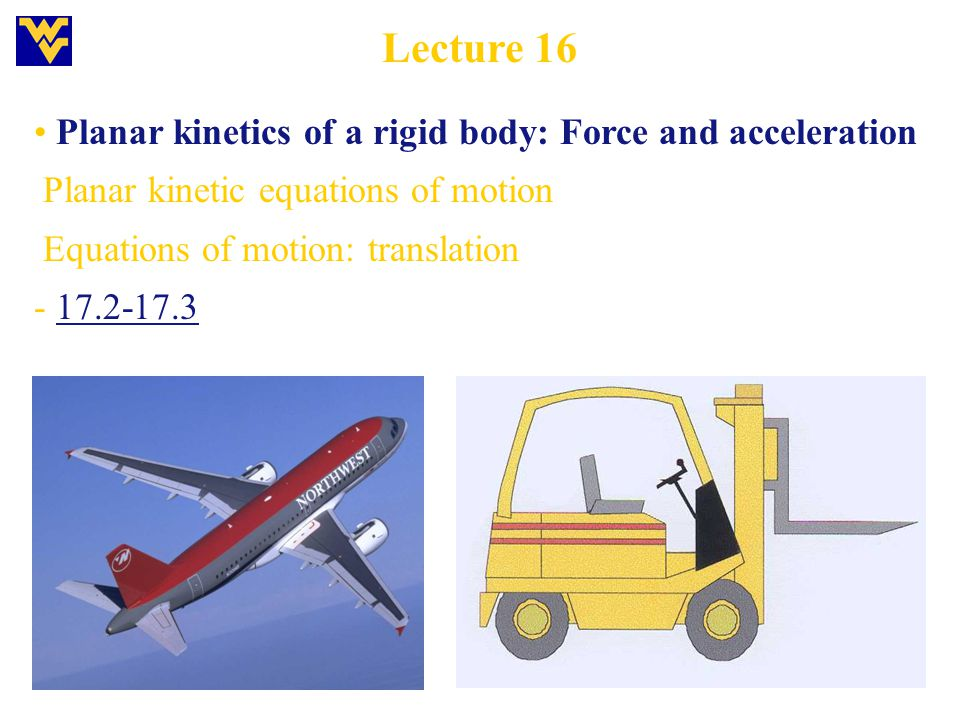Lecture 16 Planar kinetics of a rigid body: Force and acceleration Planar kinetic equations of motion Equations of motion: translation - 17.2-17.3
