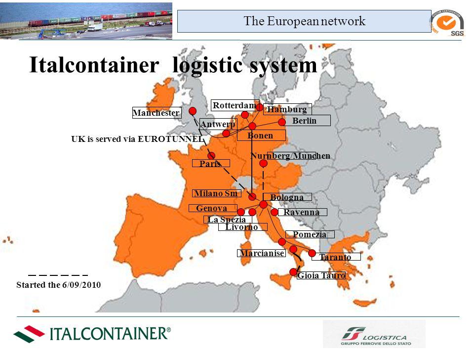 Genova La Spezia Livorno Ravenna Taranto Pomezia Bologna Bonen The European network Italcontainer logistic system Hamburg Rotterdam Berlin Manchester