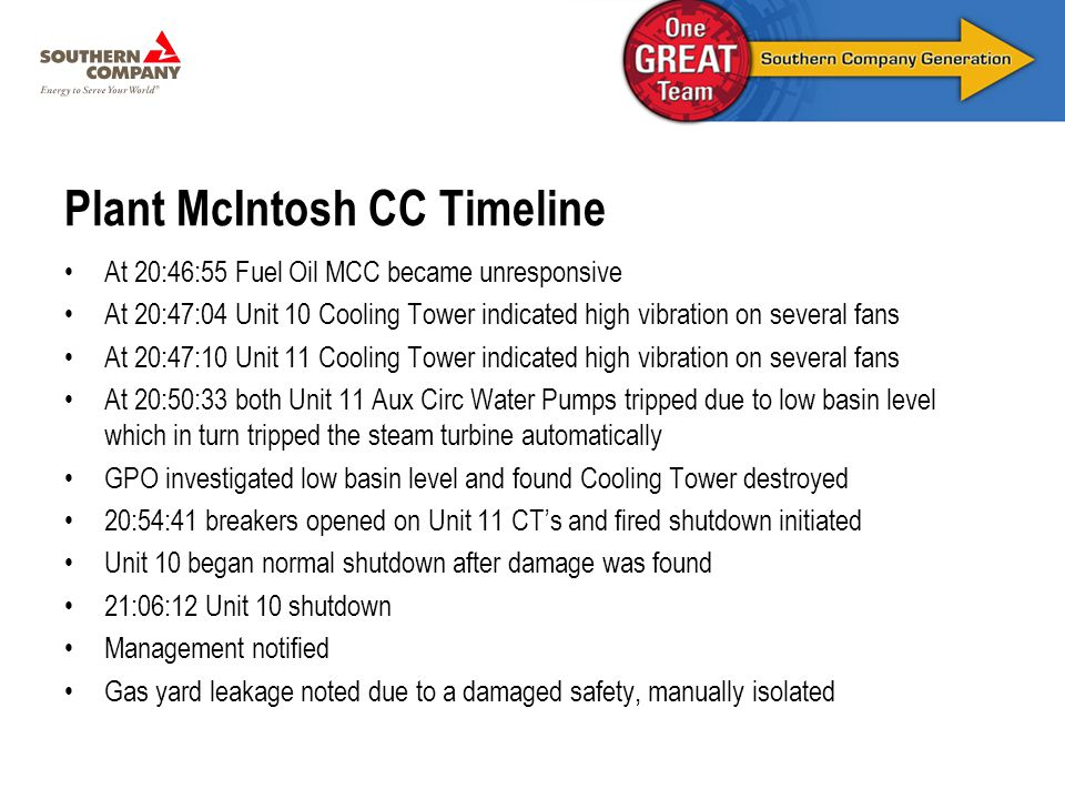 Plant McIntosh CC Timeline At 20:46:55 Fuel Oil MCC became unresponsive At 20:47:04 Unit 10 Cooling Tower indicated high vibration on several fans At 20:47:10 Unit 11 Cooling Tower indicated high vibration on several fans At 20:50:33 both Unit 11 Aux Circ Water Pumps tripped due to low basin level which in turn tripped the steam turbine automatically GPO investigated low basin level and found Cooling Tower destroyed 20:54:41 breakers opened on Unit 11 CT's and fired shutdown initiated Unit 10 began normal shutdown after damage was found 21:06:12 Unit 10 shutdown Management notified Gas yard leakage noted due to a damaged safety, manually isolated