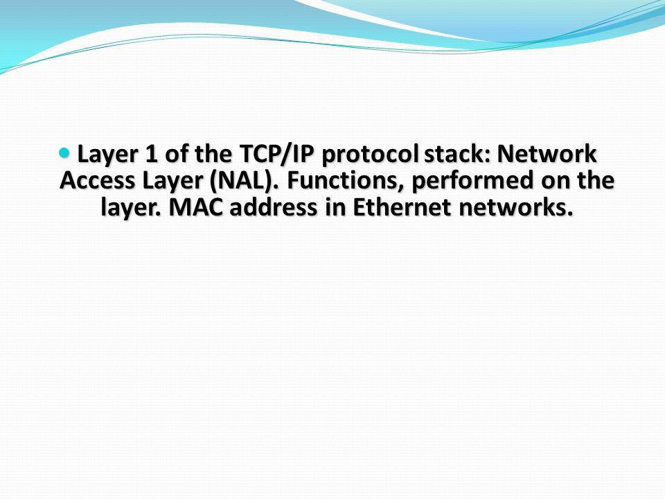 Layer 1 of the TCP/IP protocol stack: Network Access Layer (NAL).