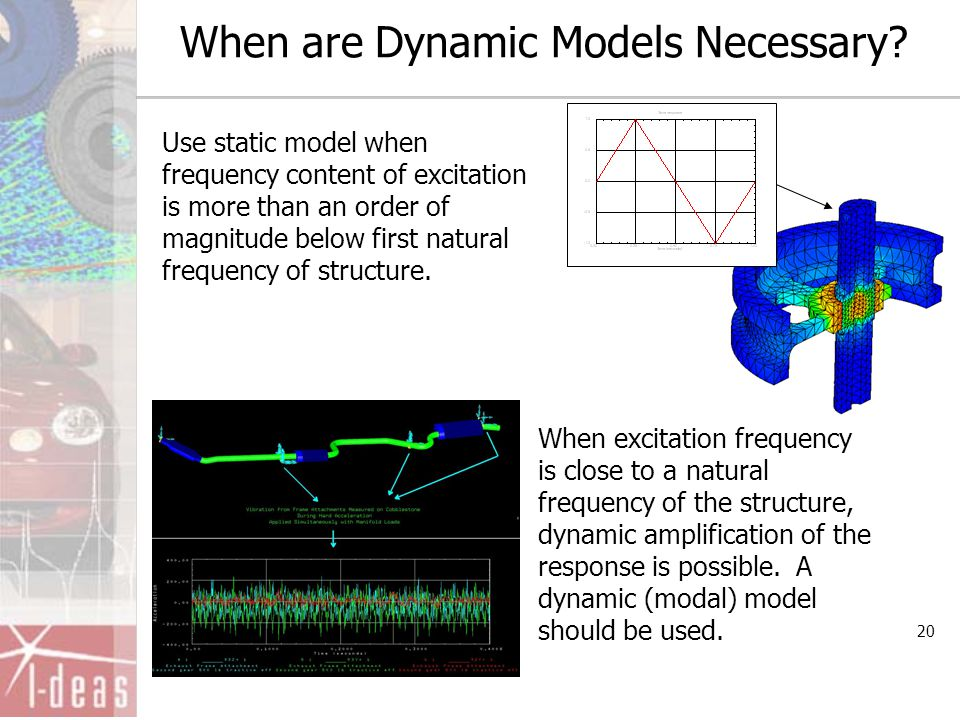 20 When are Dynamic Models Necessary? Use static model when frequency content of excitation is more than an order of magnitude below first natural fre