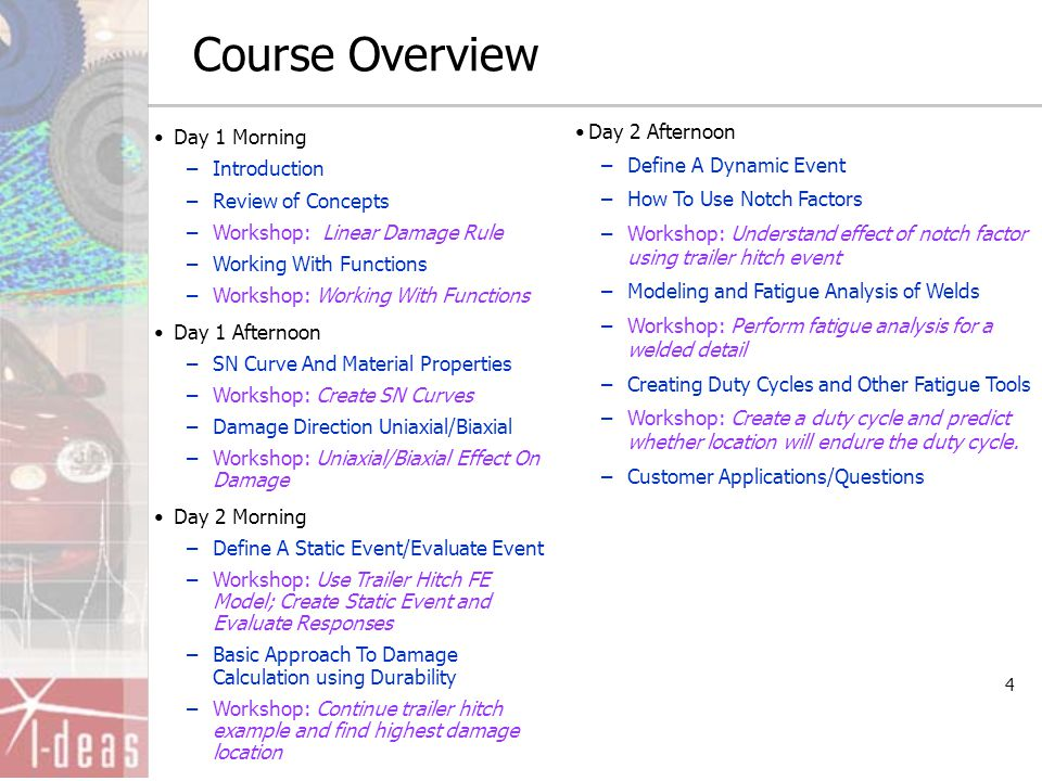 4 Course Overview Day 1 Morning –Introduction –Review of Concepts –Workshop: Linear Damage Rule –Working With Functions –Workshop: Working With Functi