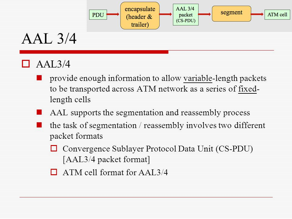 AAL 3/4  AAL3/4 provide enough information to allow variable-length packets to be transported across ATM network as a series of fixed- length cells A