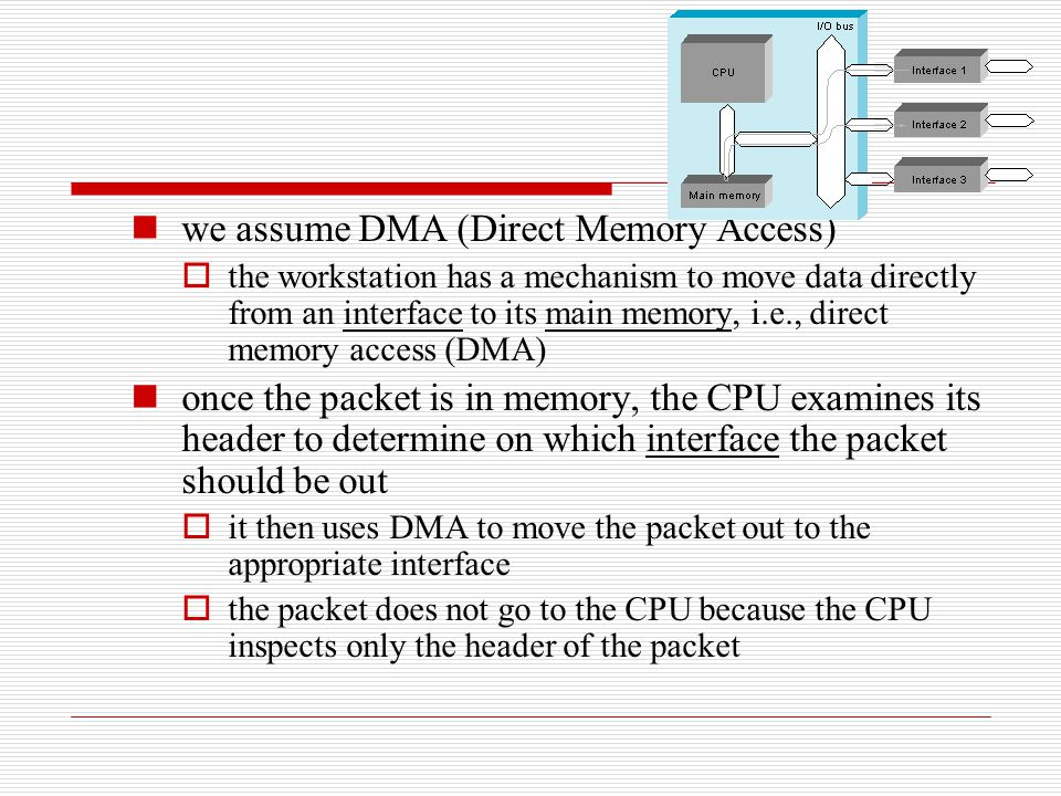 we assume DMA (Direct Memory Access)  the workstation has a mechanism to move data directly from an interface to its main memory, i.e., direct memory