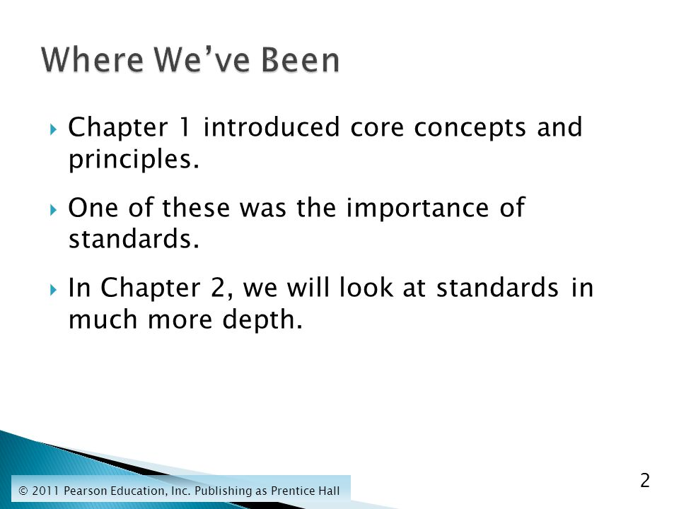  Chapter 1 introduced core concepts and principles.