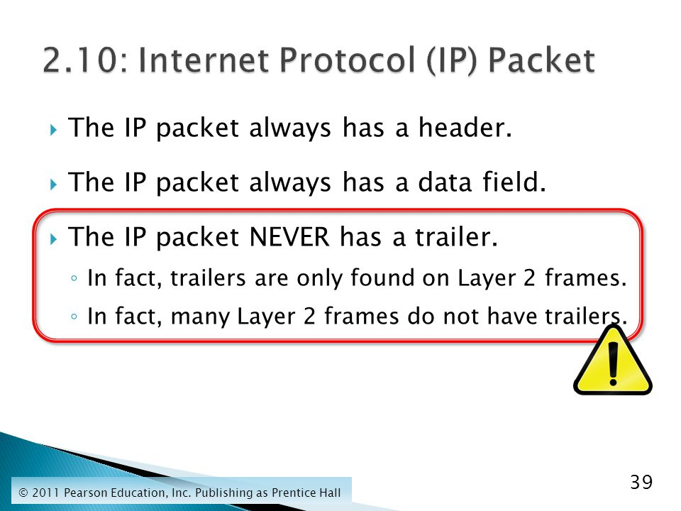  The IP packet always has a header.  The IP packet always has a data field.