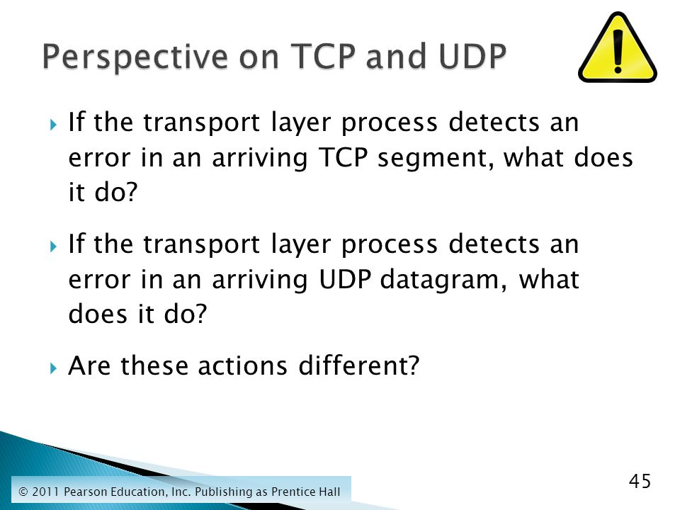  If the transport layer process detects an error in an arriving TCP segment, what does it do.