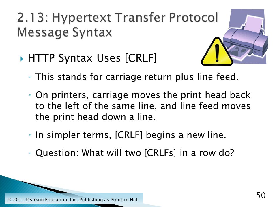  HTTP Syntax Uses [CRLF] ◦ This stands for carriage return plus line feed.