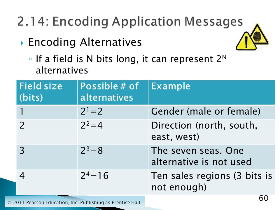  Encoding Alternatives ◦ If a field is N bits long, it can represent 2 N alternatives © 2011 Pearson Education, Inc.