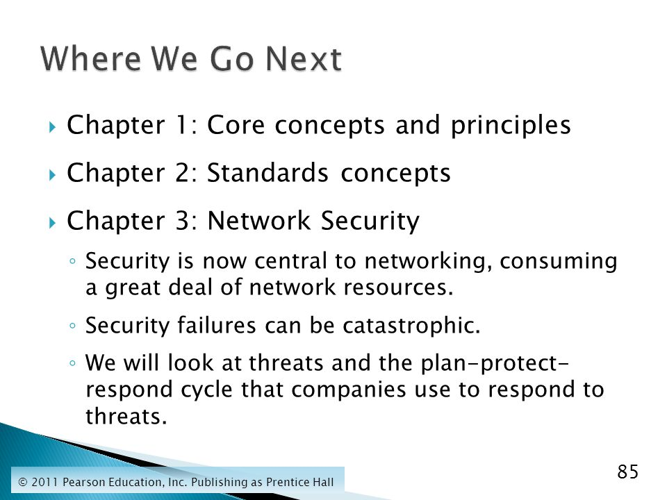  Chapter 1: Core concepts and principles  Chapter 2: Standards concepts  Chapter 3: Network Security ◦ Security is now central to networking, consuming a great deal of network resources.