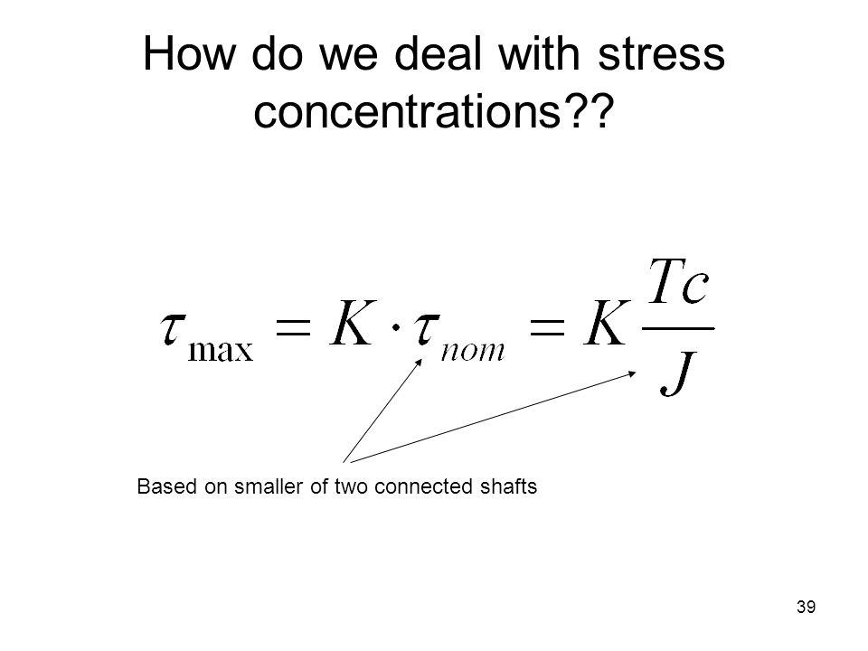 How do we deal with stress concentrations?? Based on smaller of two connected shafts 39