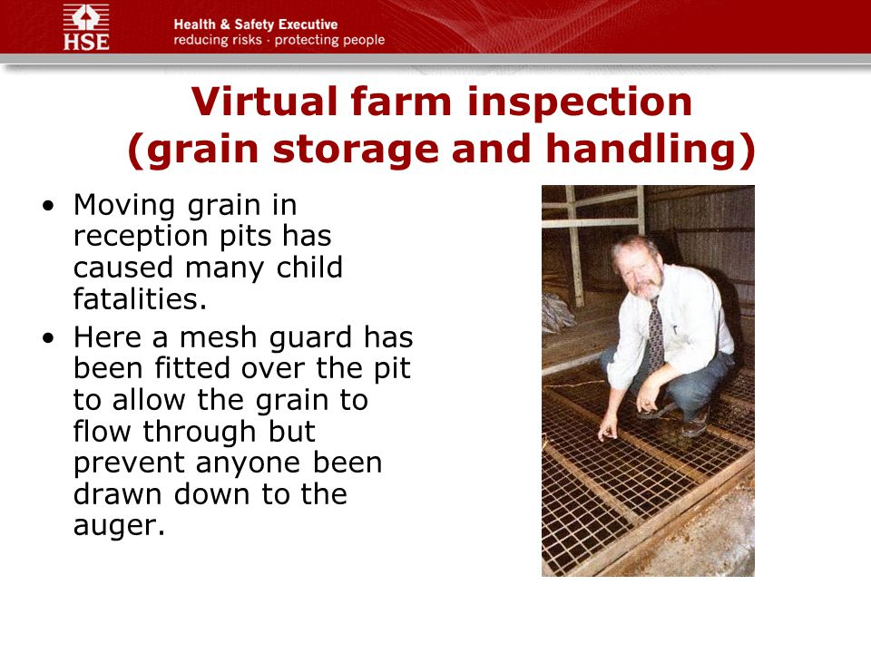 Virtual farm inspection (grain storage and handling) Moving grain in reception pits has caused many child fatalities.
